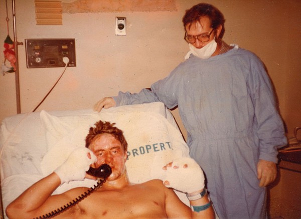 Greg Devlin in the hospital following the Damascus incident.