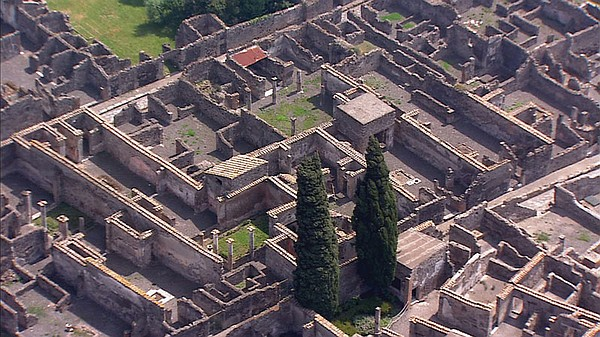 Aerial view of Pompeii, Italy.