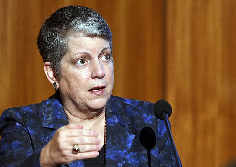 Janet Napolitano, president of the University of California, speaks at Carbon...
