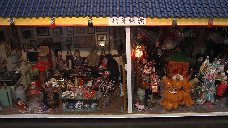 A diorama at the San Diego Chinese Historical Museum displays a scene of a ty...