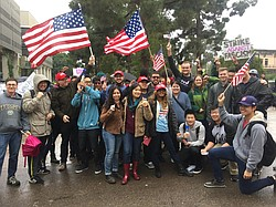 A group of Republican students at UC San Diego rally on campus, Jan. 20, 2017.