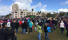 San Diego Women's March demonstrators gather at...