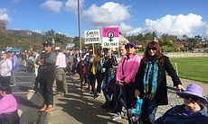Demonstrators in North County San Diego gathere...