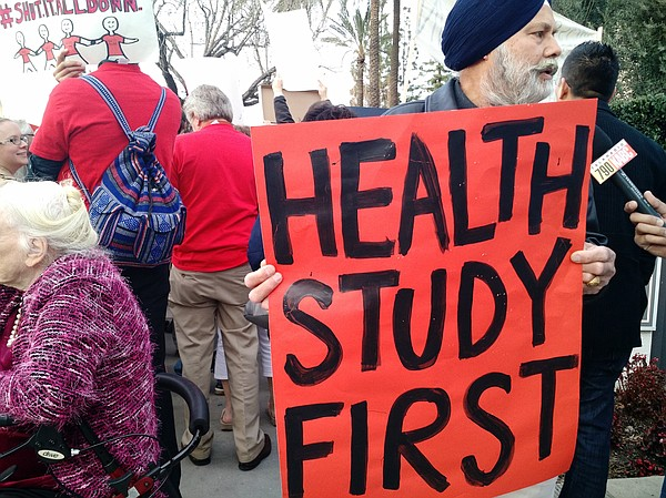 Protesters described health problems they continue to suf...