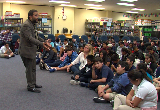 Hanif Mohebi of the Council on American-Islamic Relations speaks to students ...