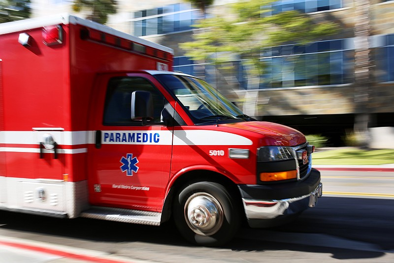 An ambulance transports a patient to a San Diego hospital, March 27, 2016.