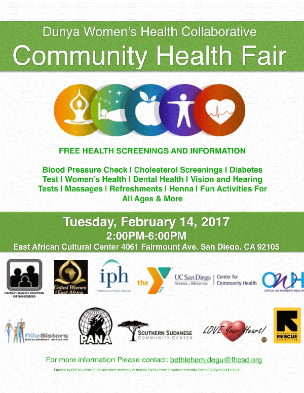A flyer for the City Heights Community Health Fair schedu...