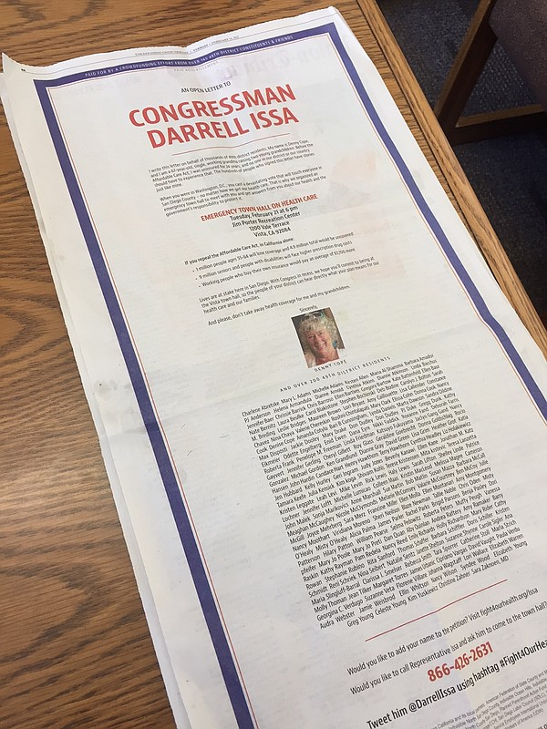 A full-page advertisement in The San Diego Union-Tribune ...