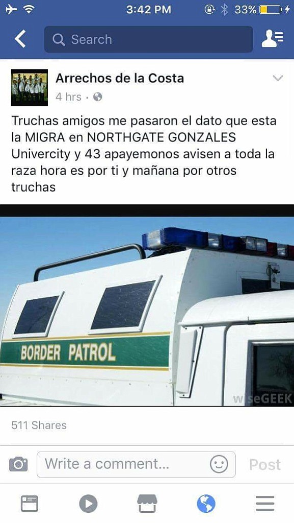 This Facebook post falsely warns of Border Patrol presenc...