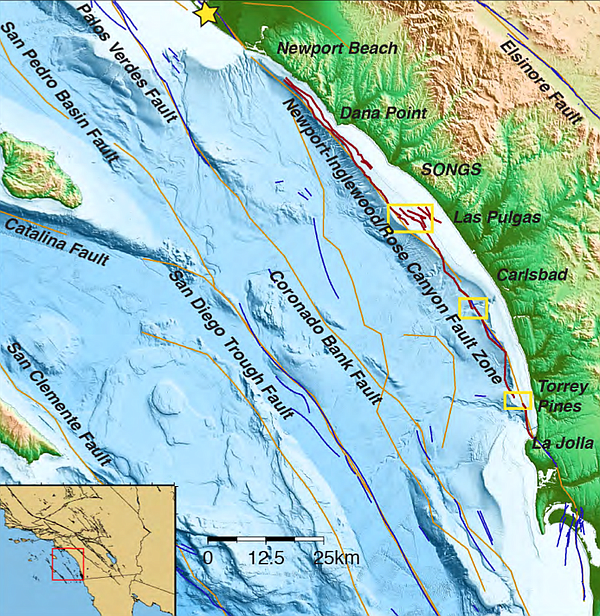 This map shows the Newport Inglewood Rose Canyon Fault, and underwater topogr...