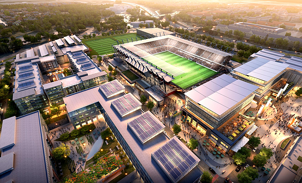 A rendering of the proposed soccer stadium in Mission Val...