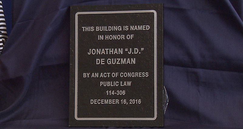 "Jonathan ""J.D."" De Guzman's dedication plaque that will be displayed on the Chula Vista Post Office. March 6, 2017."