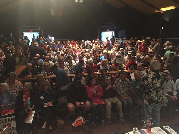 A crowd waits for the start of a town hall with Rep. Duncan Hunter, R-50, at ...
