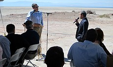 Wade Crawford, the Water Foundation's chief executive officer, and Jose Flores, a teacher at Brawley Union High School, discuss the impacts of the shrinking Salton Sea on public health, March 16, 2017.