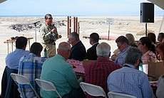 Frank Ruiz, Audubon California's Salton Sea director, speaks to state lawmakers and state agency representatives at a tour of the Salton Sea, March 16, 2017.