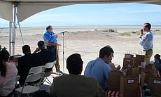Bruce Wilcox, assistant secretary of Salton Sea policy for the California Natural Resources Agency, and Wade Crawford, the Water Foundation's chief executive officer, speak about the receding Salton Sea and restoration efforts, March 16, 2017.