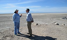 State Sen. Toni Atkins, D-San Diego, speaks with Wade Crawford, the Water Foundation's chief executive officer, while touring an area that was once covered by water from the Salton Sea, March 16, 2017.