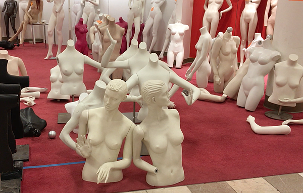 Manikins are temporarily stored on the third floor of MIssion Valley Macy's a...