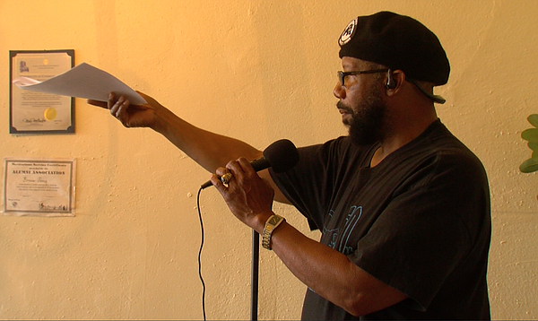 San Diego Black Panther Party Chairman Henry Wallace recites the group's 10-p...