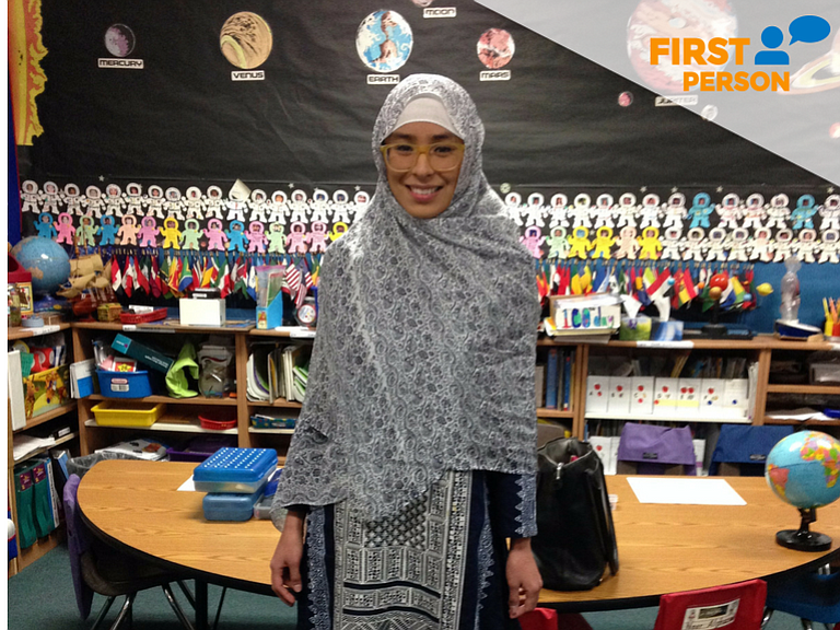 Mayte Gutierrez, 25, of San Diego at a classroom at the Islamic Center of San...