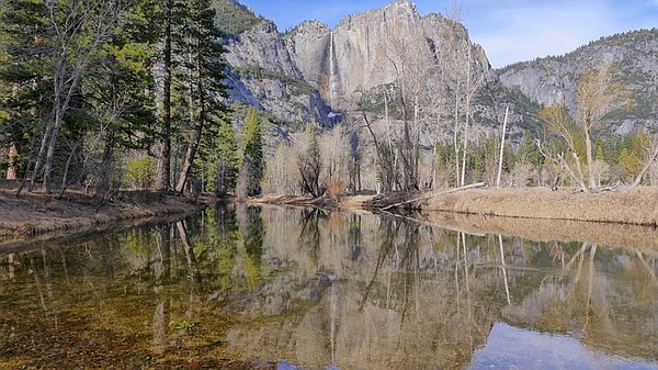 Yosemite Falls reflecting in the Merced River in the hear...