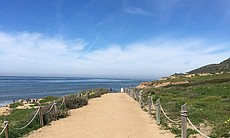 Trails at the Cabrillo National Monument are sh...