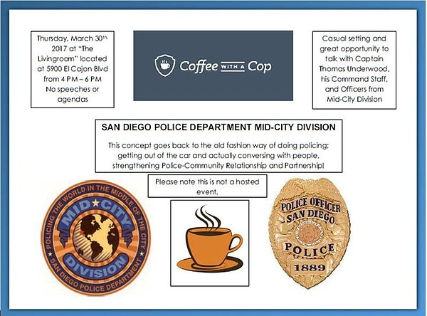 A flyer for the coffee with a cop event on Thursday, March 30, 2017.
