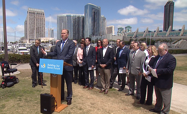 San Diego Mayor Kevin Faulconer announces a proposed ball...