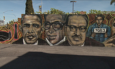 This mural on Imperial Avenue depicts leaders including Rosa Parks and former...