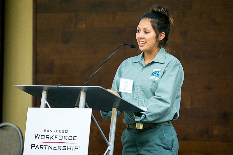 Tania Sanchez-Aguilar speaking behind a lectern at a San Diego Workforce Part...