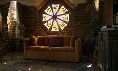 A stained glass window at the Julian property of artist James Hubbell, April ...