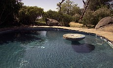 A pool on the Julian property of architect James Hubbell, April 11, 2017.