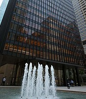 Seagram Building: Mies van der Rohe's tower on Park Avenue was the model for modernist skyscrapers built across the country in the mid-20th century: a dark glass box, set back on an open plaza. New York, N.Y.