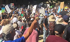 San Diegans gather by the Civic Center downtown for the March for Science, Ap...