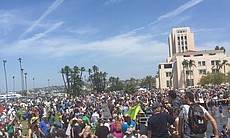 Participants of the San Diego March For Science end their march at Waterfront...