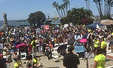 Crowds gather at Waterfront Park after the San Diego March for Science, April...
