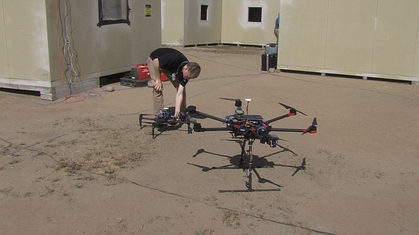 Drone gets ready for flight at Camp Pendleton exercise, A...