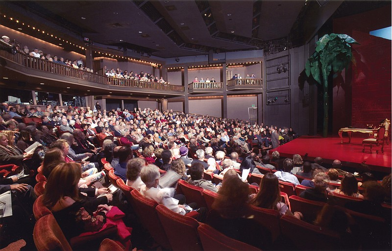 The interior of the 600-seat Old Globe Theatre.