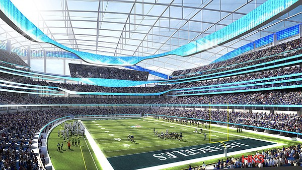 An artist's rendering of the Chargers, Rams Inglewood sta...