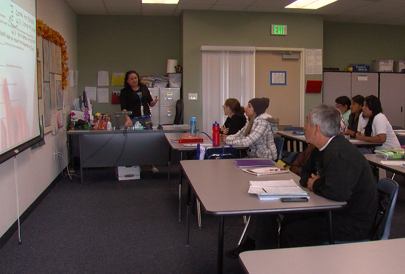Rosa Rojo teaches a beginning English-language course at Escondido Adult Scho...