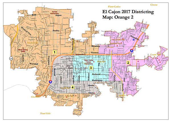 The El Cajon district map favored by many in the city's M...