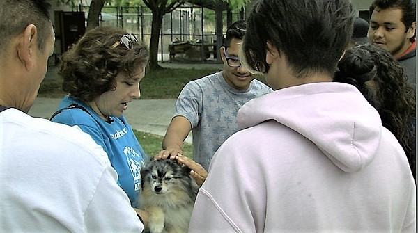 Pet Encounter Therapy Program manager Robin Cohen holds h...