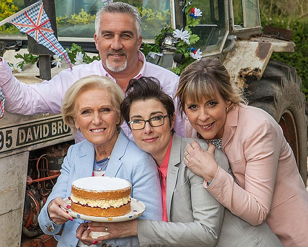 Judges Mary Berry and Paul Hollywood, with Hosts Sue Perk...