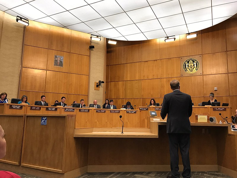 Mayor Kevin Faulconer speaks in front of the San Diego City Council, June 12,...