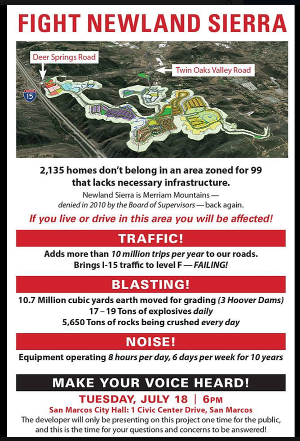 Opponents' poster for a public meeting on the proposed Ne...