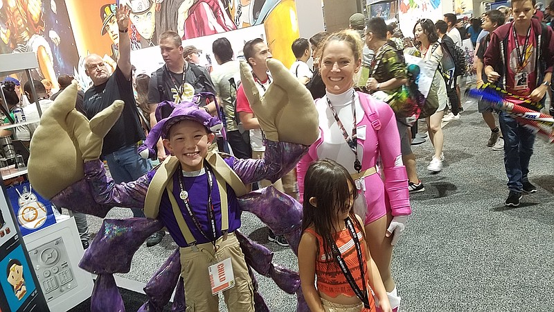From left: Max Hsu, as Tamatoa from Moana, Ophelia Hsu as Gwenpool, and Parke...