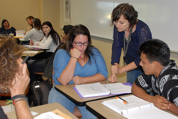 Cuyamaca College math teacher Terrie Nichols helps students in this undated p...