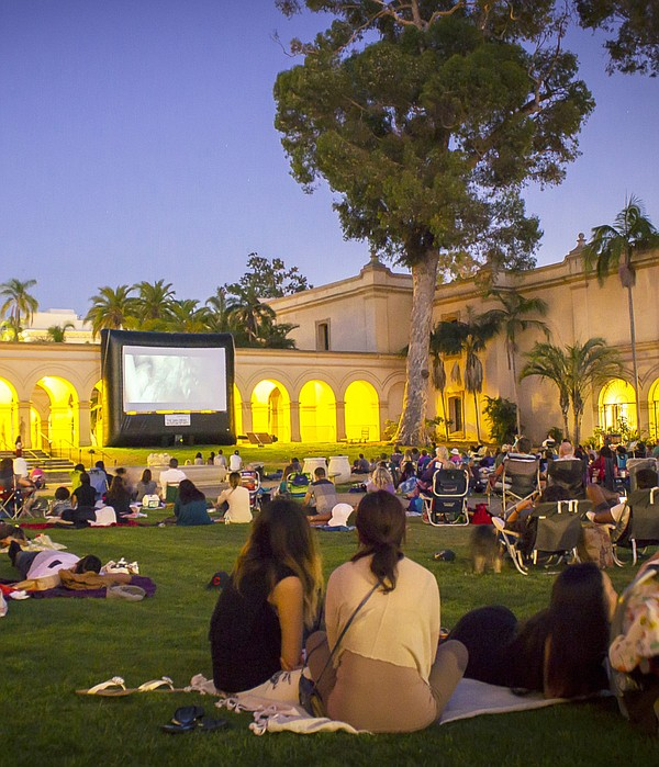 A photo of San Diego Museum of Art's Screen on the Green movie night.
