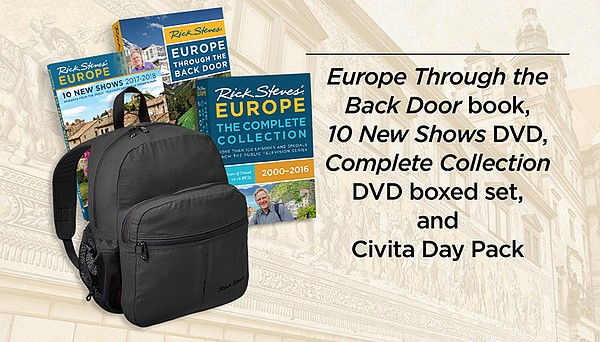 """Give $25 a month or $300 all at once and receive the """"Rick Steves' Europe Thr..."""