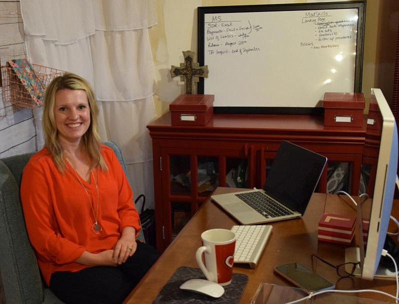 Liza Rodewald works from home for Hire Mad Skills, a job site she co-founded ...